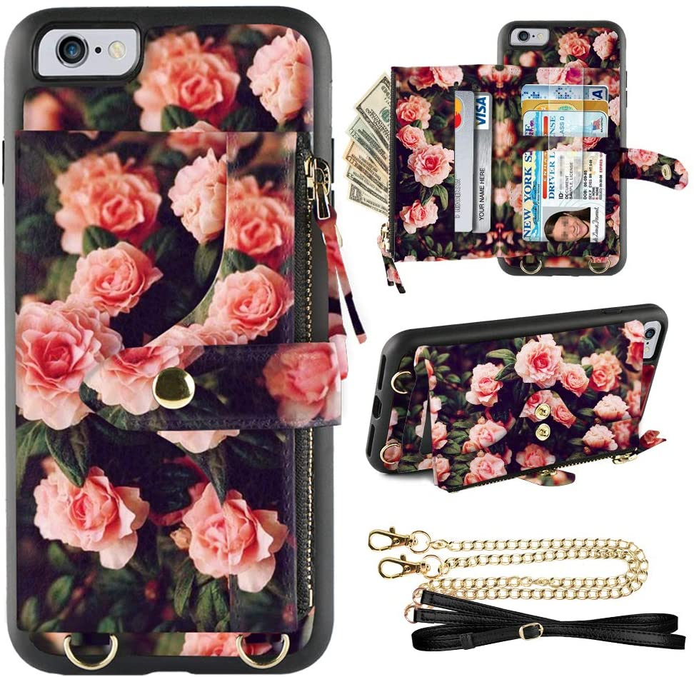 LAMEEKU iPhone 6 Plus Wallet Case, iPhone 6s Plus Card Holder Case Crossbody Lanyard Case with Strap Credit Card Slot Zipper Purse Shockfroof Case for iPhone 6 Plus 6s Plus, 5.5''-Peony