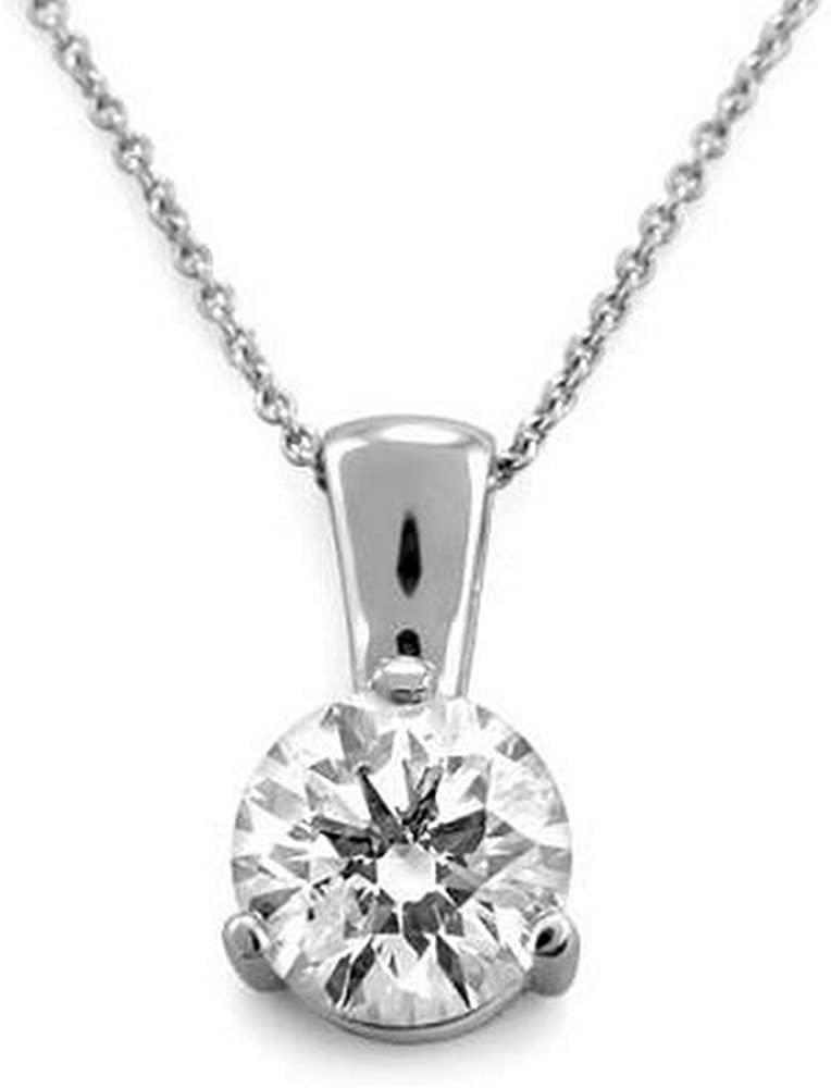 3/4 Carat 3 Prong Solitaire Basket Diamond Pendant Necklace 18K White Gold (D-E, SI1, 0.72 ctw) w/ 16
