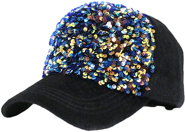 Sequined Glitter Baseball Cap Reversible Magic Sequin Adjustable Baseball Hat Cotton Sparkle Rhinestone Sun Hats