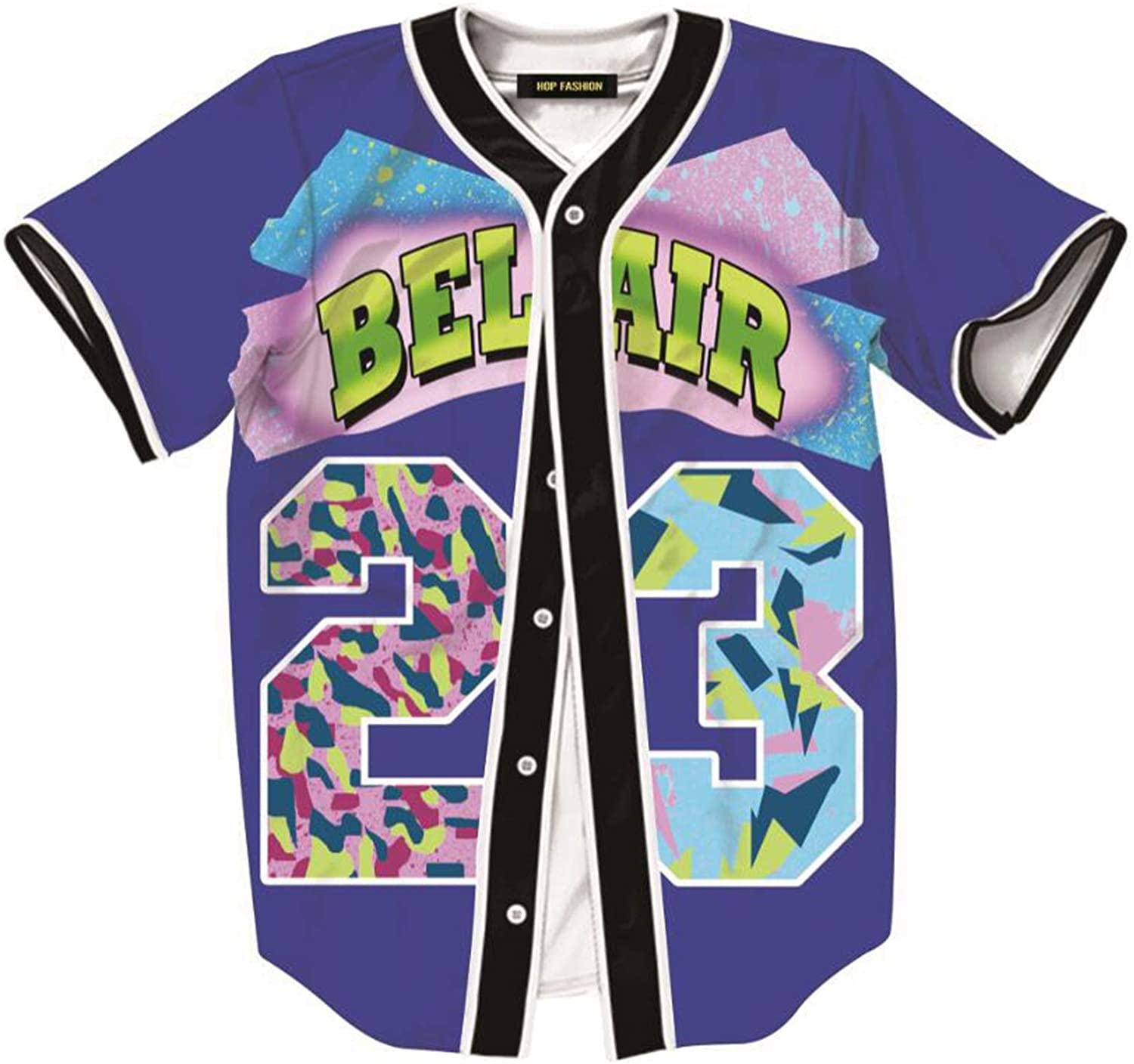 HOP FASHION Unisex 90s Bel Air Baseball Jersey Short Sleeve Tops for Birthday Party