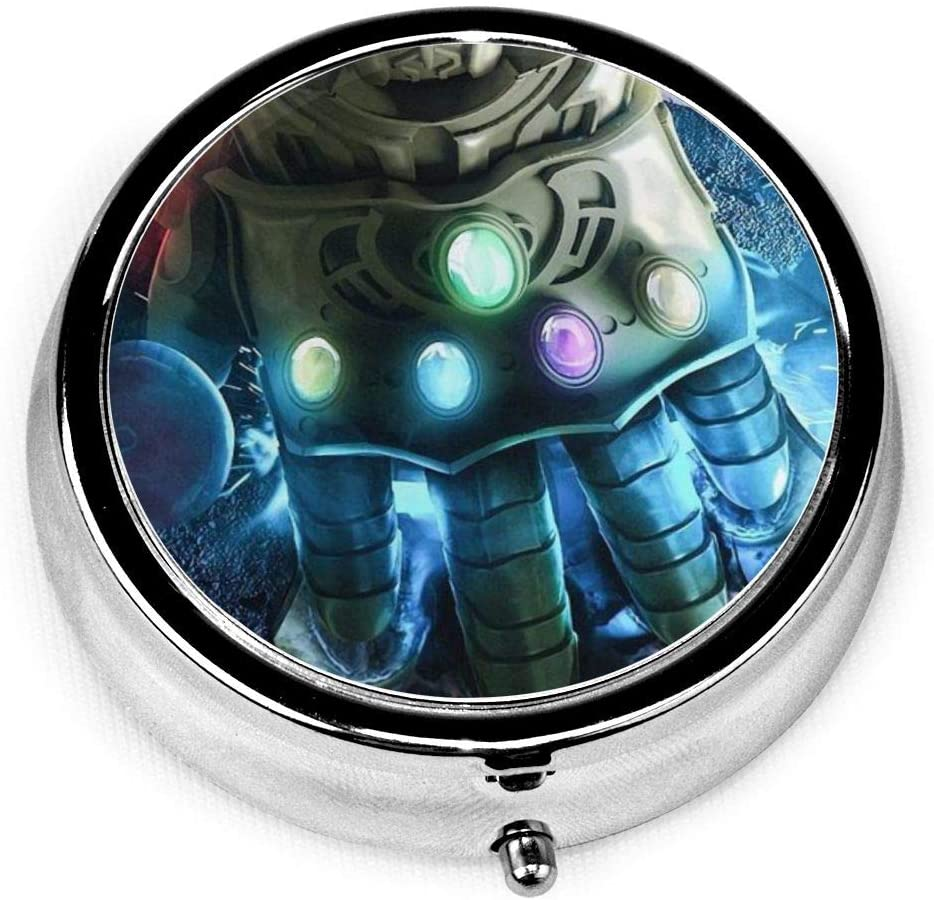 Infinity Gauntlet Round Pill Box, Mini Travel Pill Box, Vitamin Decoration Box, Pill Box Holder, Partition Pill Box, 2 Inch Medical Storage Bag with Pattern-Compact 3 Compartments