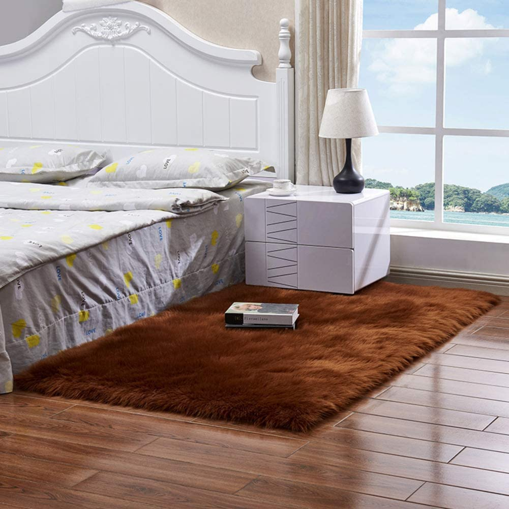 Area Rug Thick Faux Fur Sheepskin, Rectangle Plush Carpet Luxury Soft Floor Rug Bedside Rugs for Living Bedroom Home Decor-Brown Square30x30cm(12x12inch)