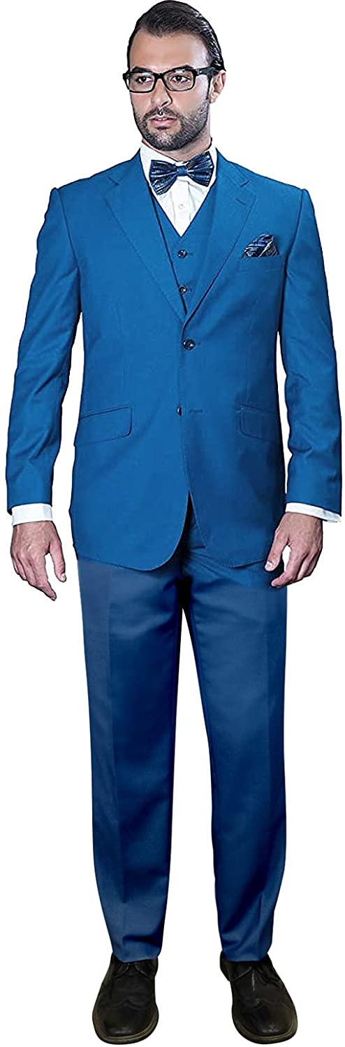 Statement Men's 3pc French Blue Suit Regular Fit Single Breasted 2 Button w Vest & Pants