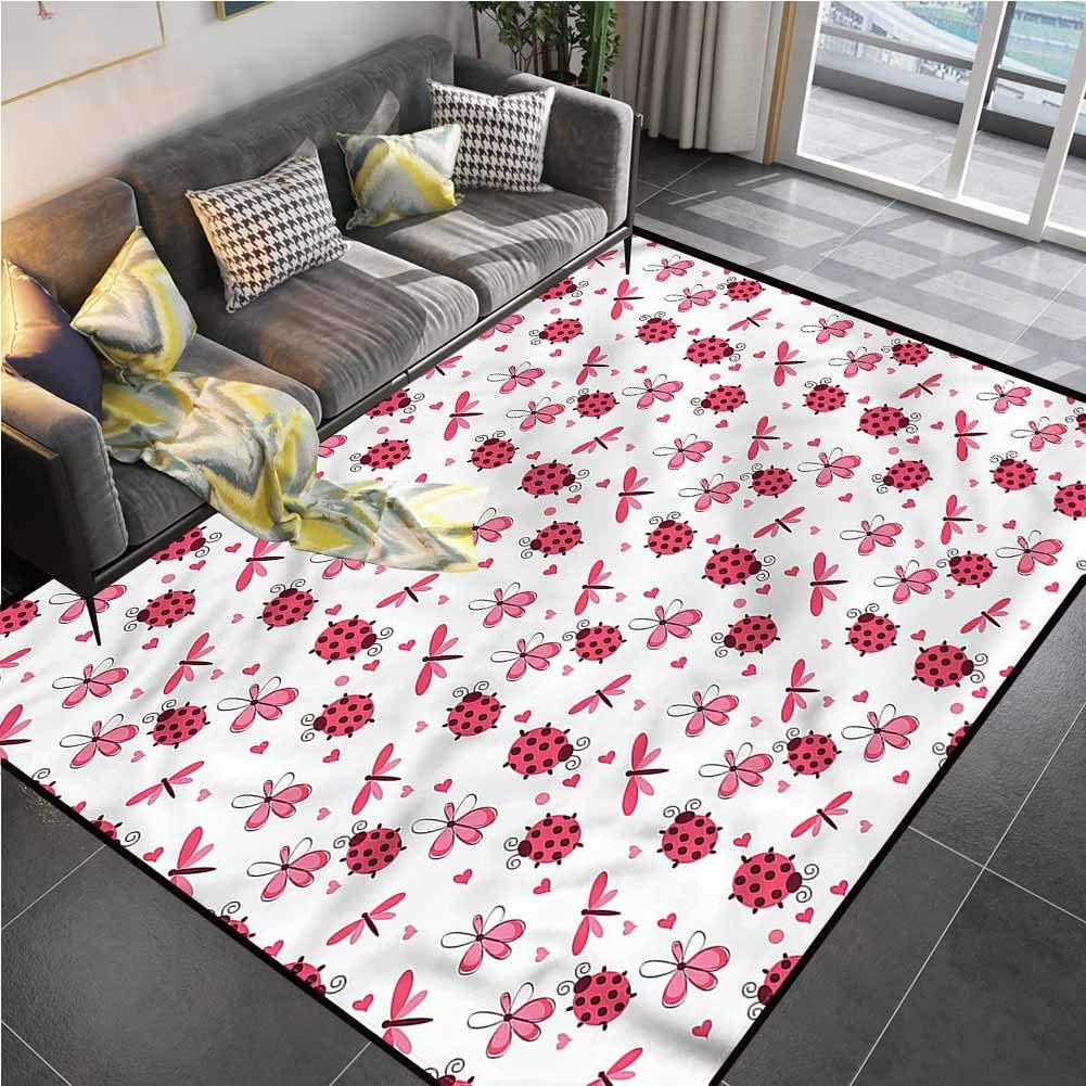 Area Rug Rugs Print Large Floor Mat Ladybugs,Dragonfly Ladybugs Hearts Indoor Outdoor Rug for Kids Yoga Living Room Home Decor Rugs 6'6