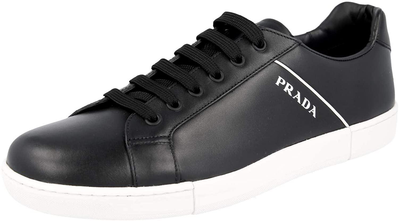 Prada Men's 4E3340 6DT F0967 Leather Sneaker