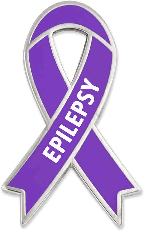 PinMart Epilepsy Purple Awareness Ribbon Enamel Lapel Pin