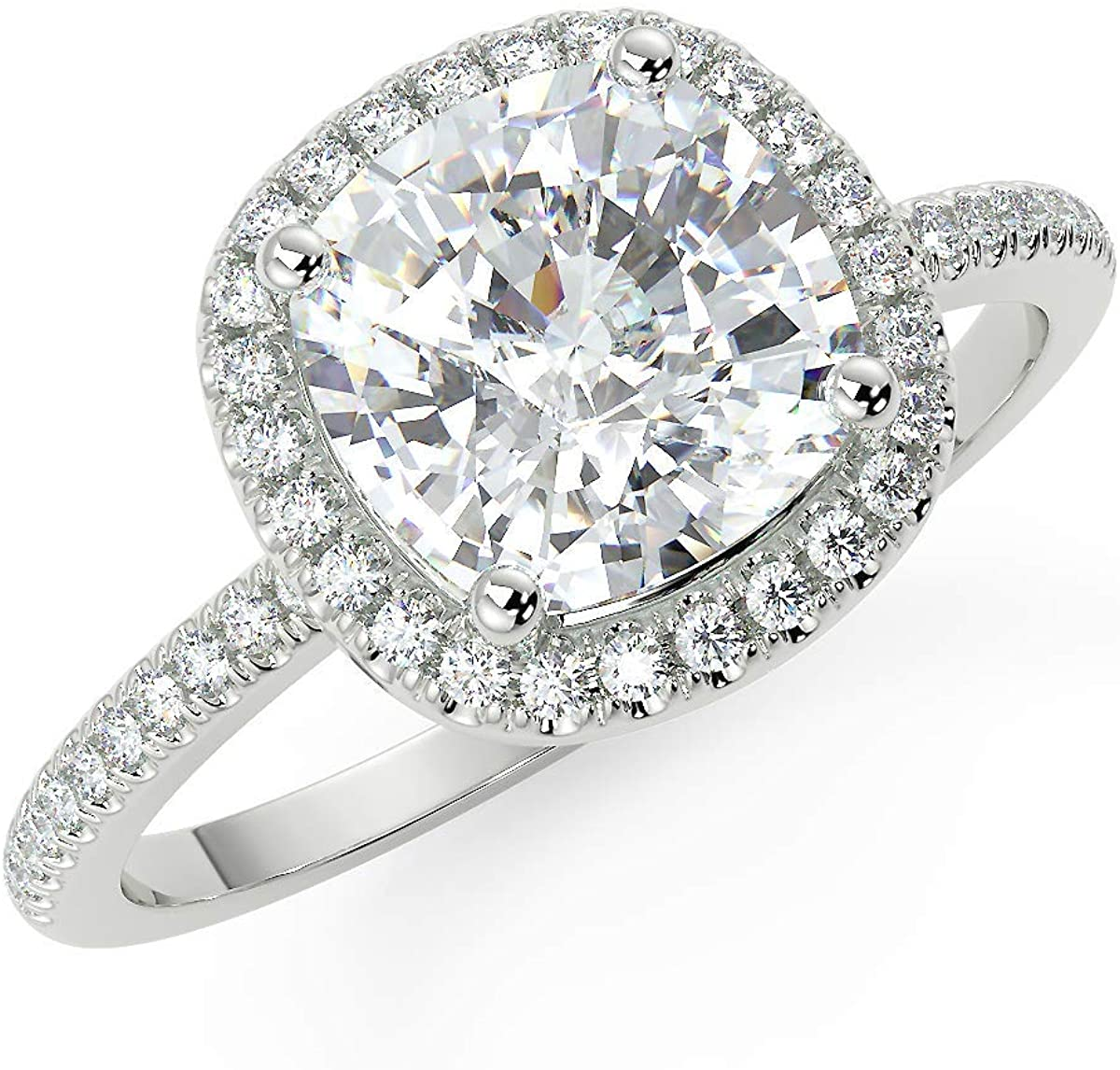 San Moissan Moissanite Engagement Ring in Halo Setting with 1.70ct (7mm) G-H Cushion Brilliant in .925 Sterling Silver for Women