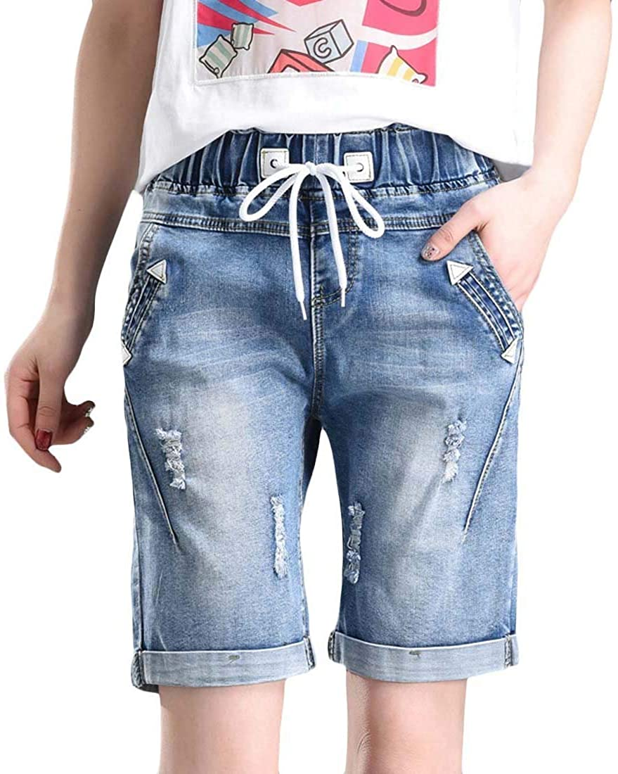 Frieed Womens Drawstring Summer Loose Ripped Destroyed Bermuda Denim Shorts Jeans