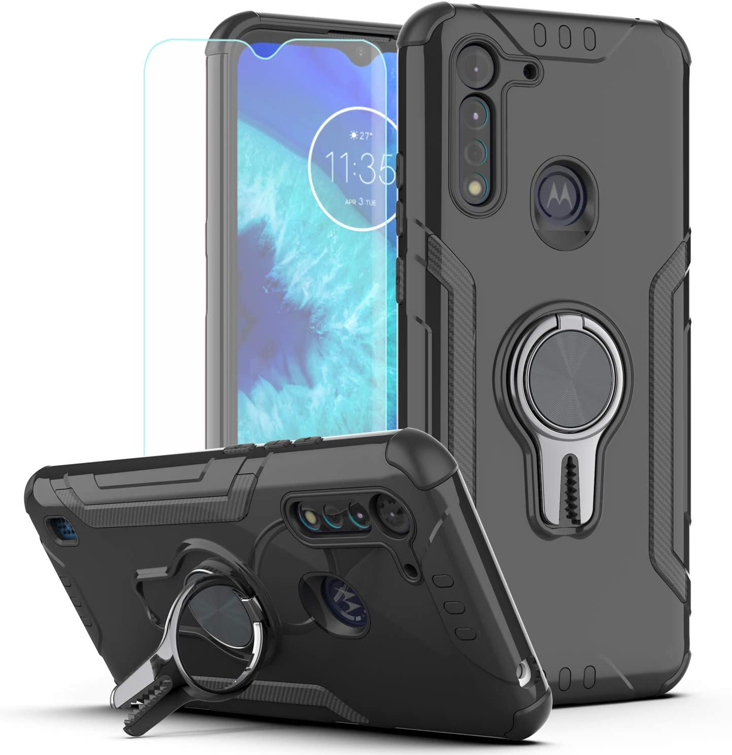 Moto G8 Power Lite Case (Not for Moto G8 Power) with HD Screen Protector,KaiMai Ring Magnetic Holder Kickstand Dual Layers of Shockproof Phone Case for Motorola Moto G8 Power Lite-LJ-Black
