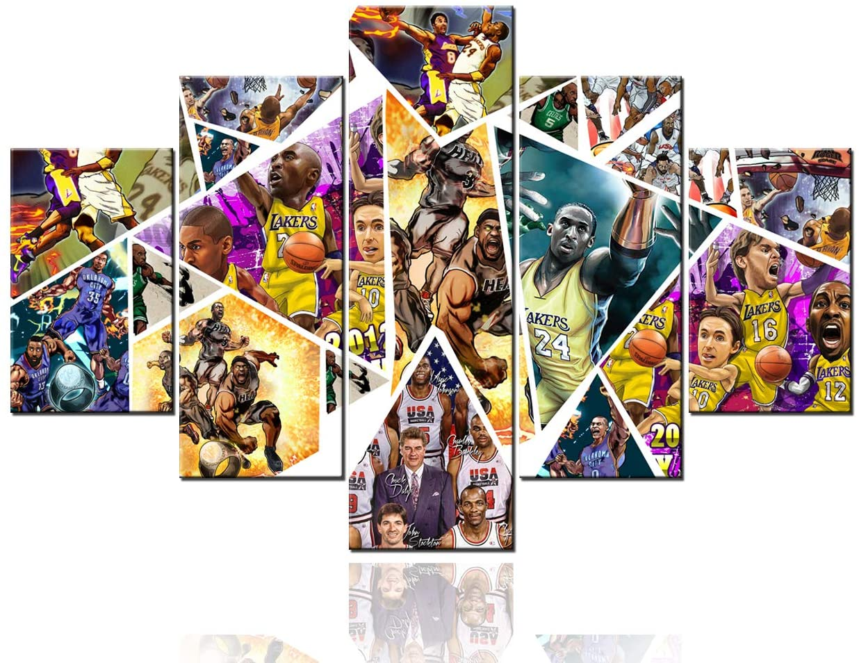 Extra Large Wall Art Anime Kobe Bryant Pictures Los Angeles Lakers MVP Paintings 5 Pcs/Multi Panel Canvas Artwrok Home Decor for Living Room Framed Ready to Hang Posters and Prints(60Wx40H)