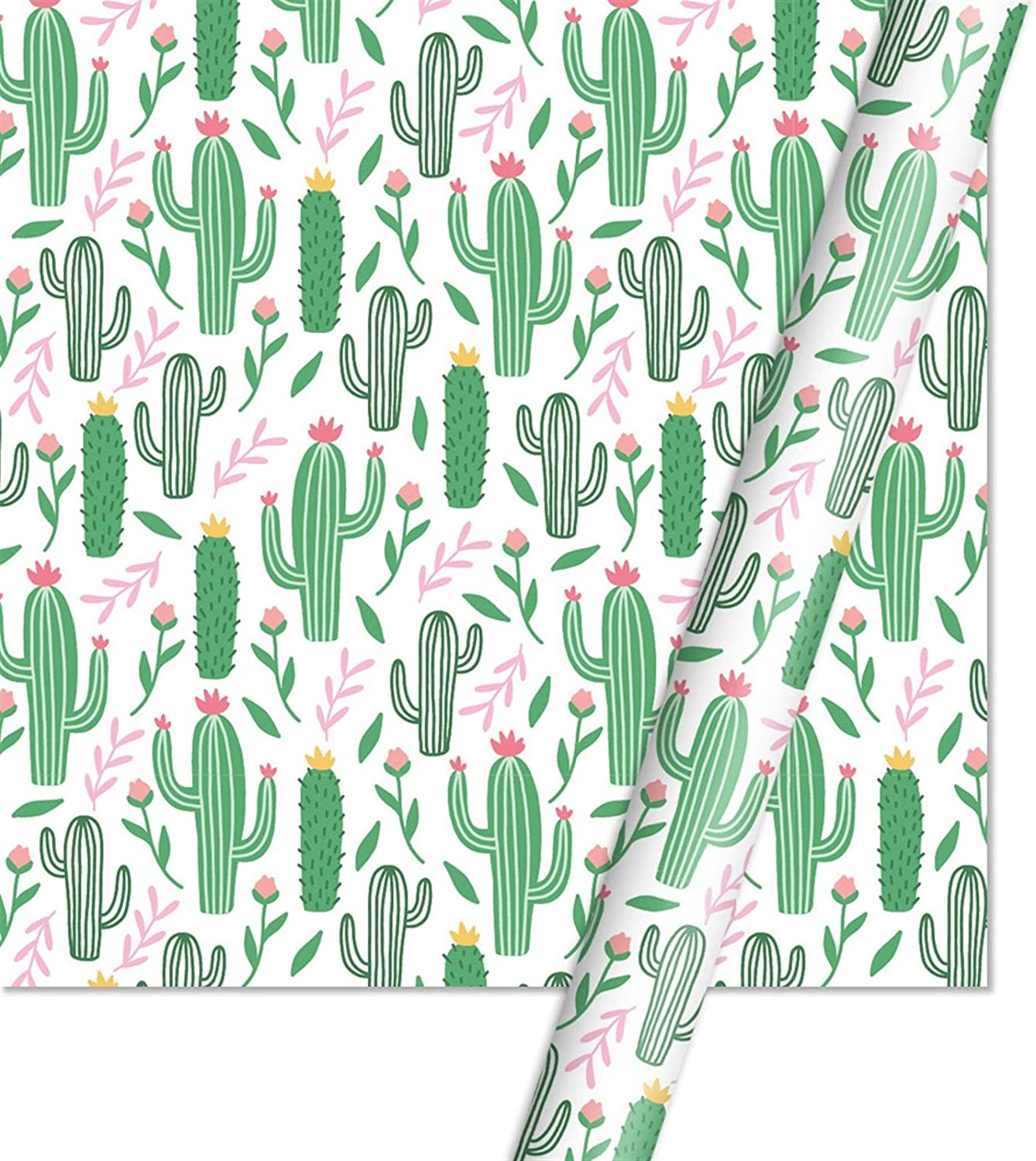 FXZ Wrapping Paper Packing Paper Wedding Gift Decoration Paper Alpaca Unicorn Cactus Carton 5070cm (Color : 4)