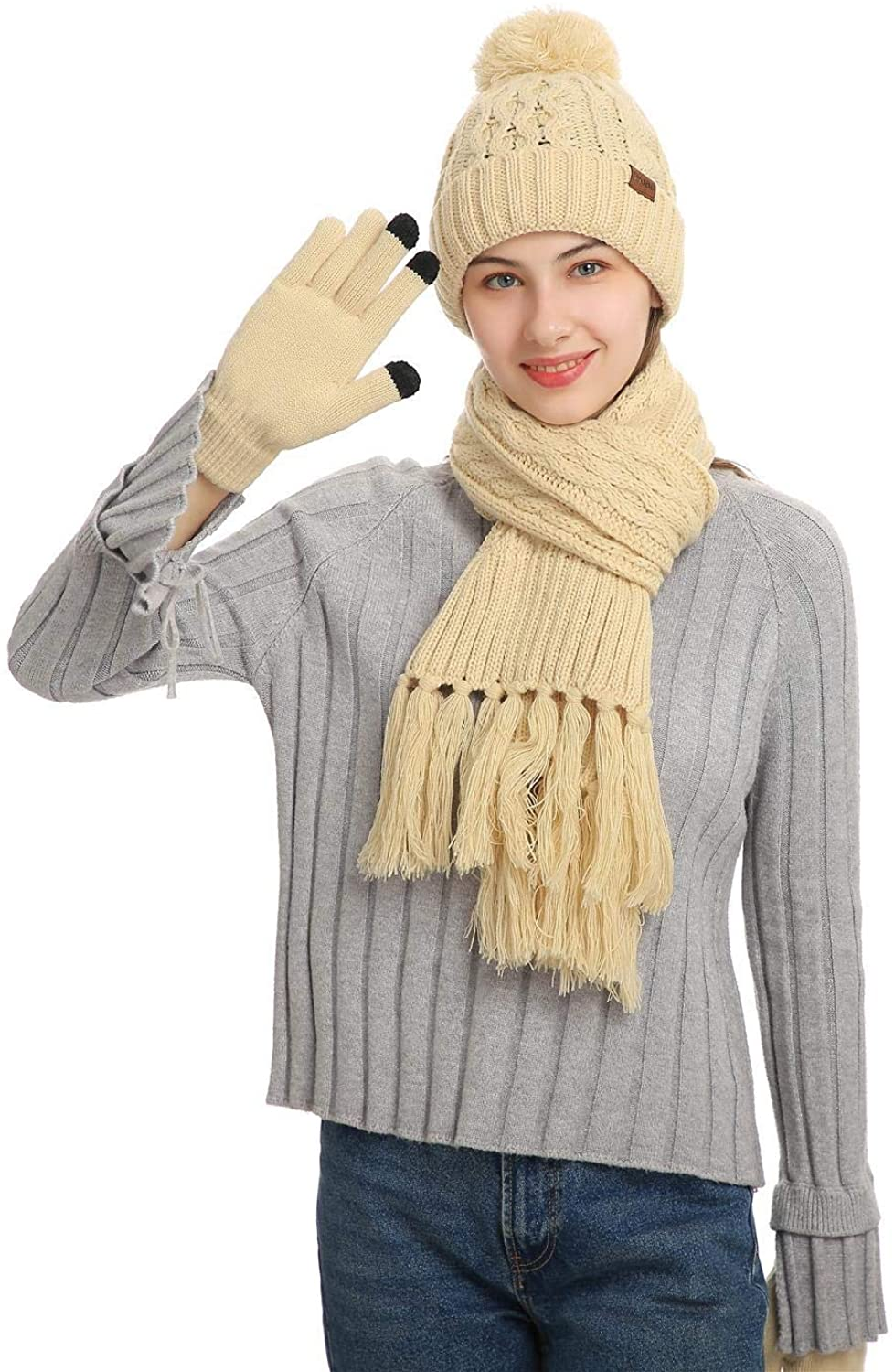 Men's Winter Beanie Hat Scarf and Touchscreen Gloves 3Pcs Knitted Thickened Lining Cap Neck Warmer for Men and Women