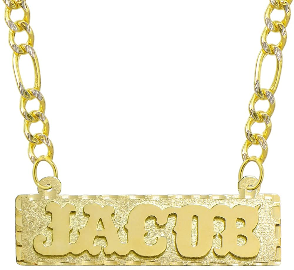 Pyramid Jewelry 14K Yellow Gold Personalized Name Plate Necklace - Style 4 - Customize Any Name