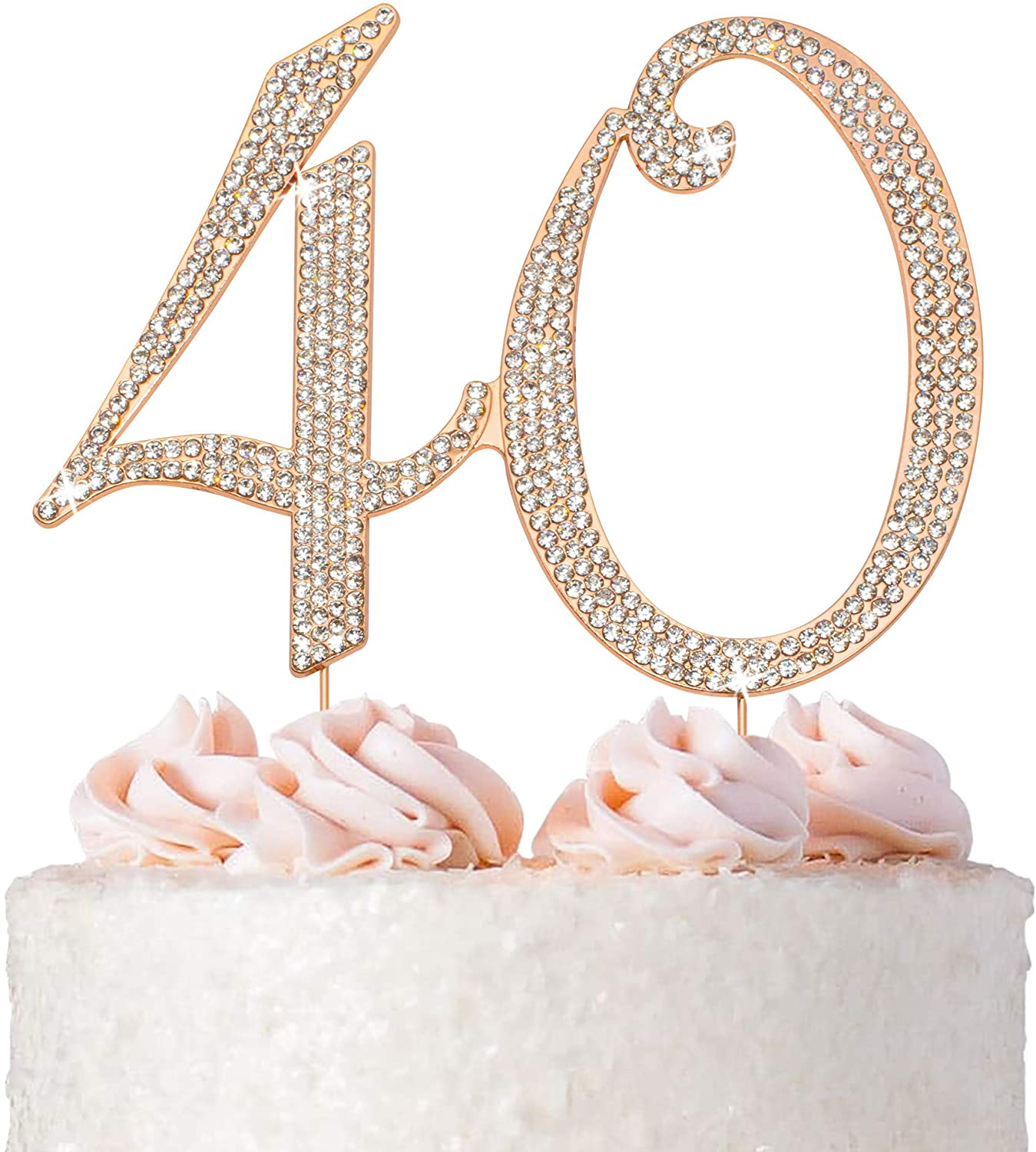 40 Cake Topper - Premium Rose Gold Metal - 40th Birthday or Anniversary Party Sparkly Rhinestone Decoration Makes a Great Centerpiece - Now Protected in a Box