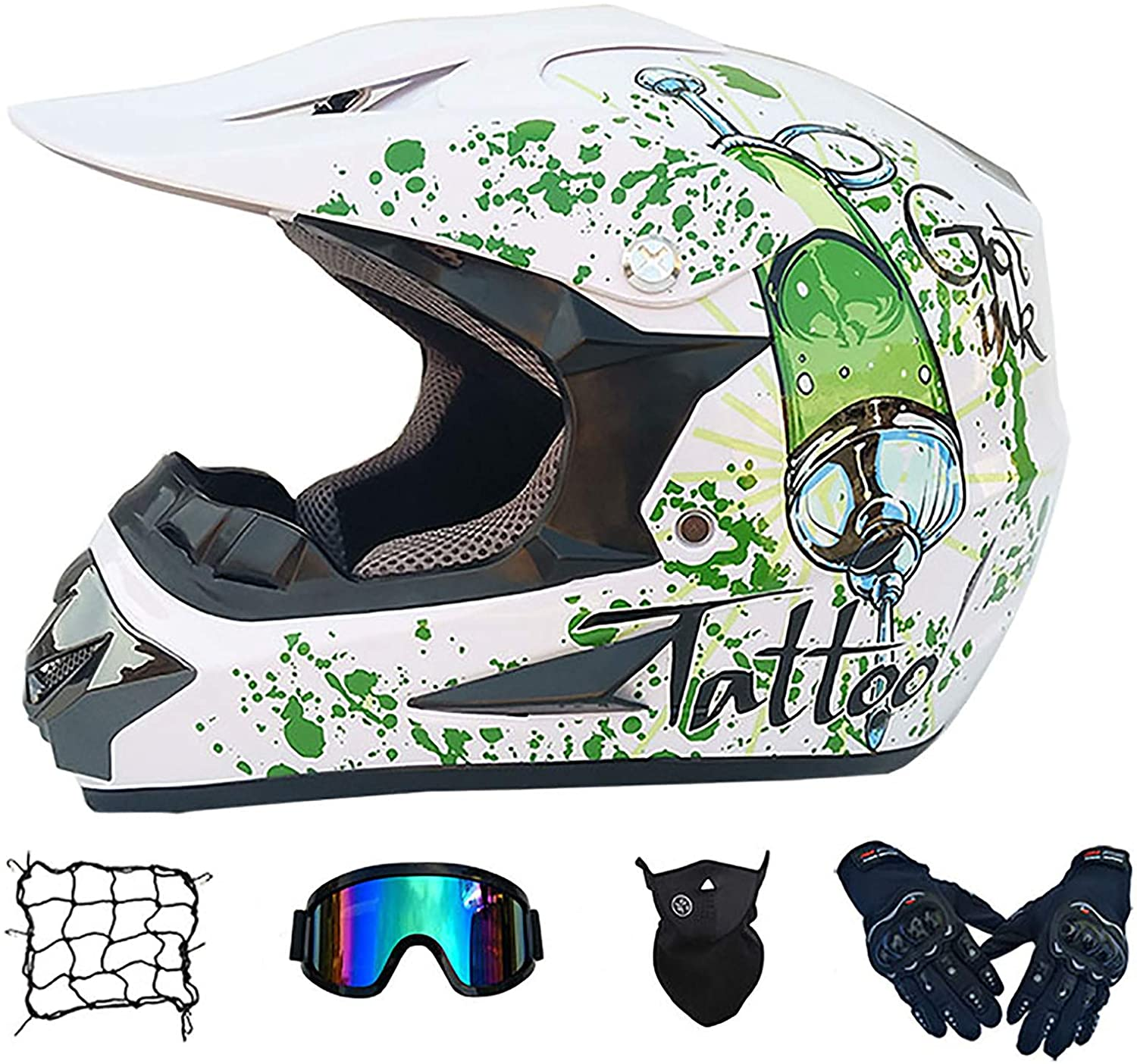 ZiFei Motocross Helmet Adult Full Face Off Road Racing Helmets with Goggles/Mask/Gloves, Motorcycle ATV MTB Unisex Downhill Quad Dirt Scooter Crash Helmets DOT Certified,Syringew,XL