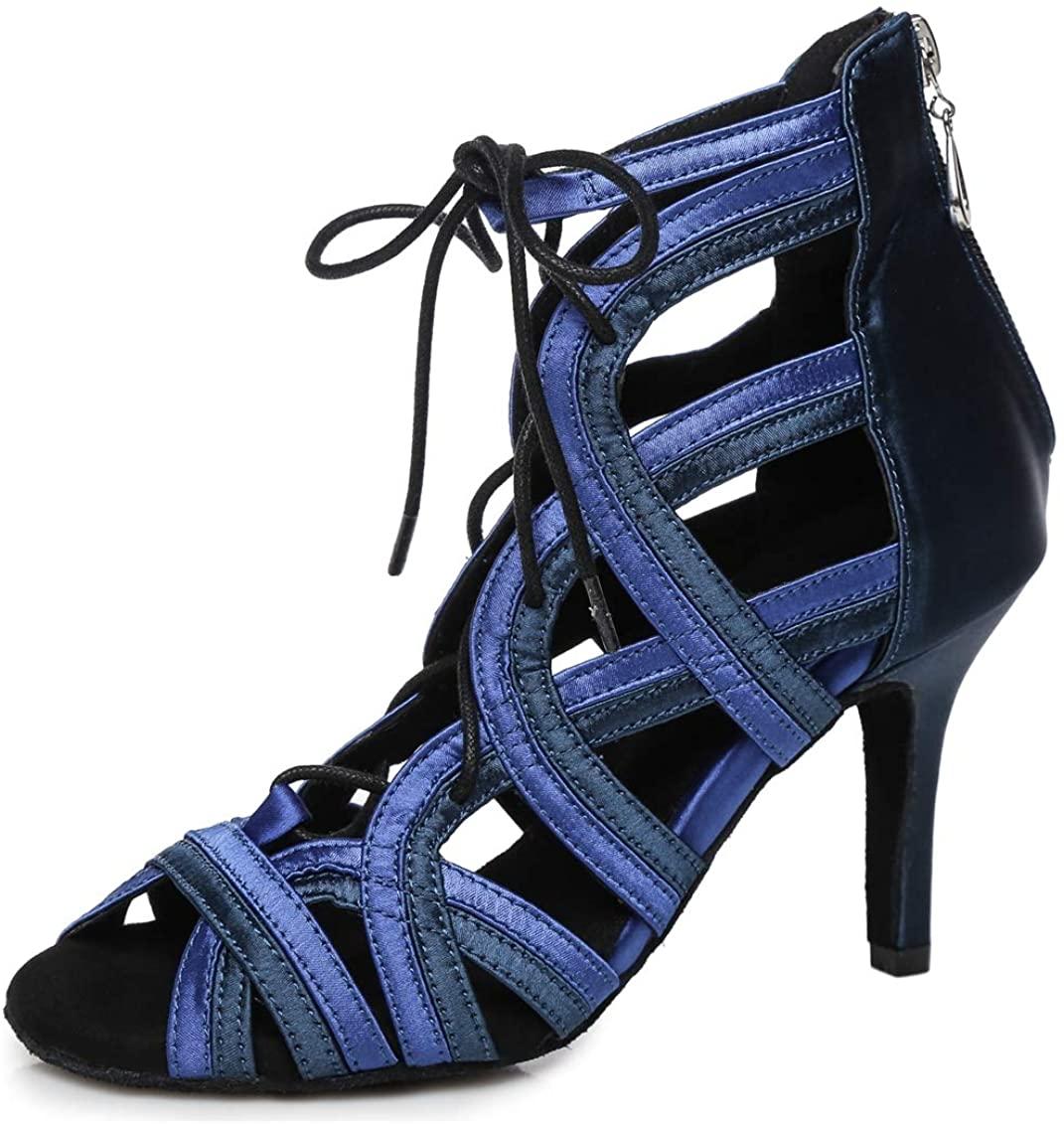 Minishion Women's Lace Tie Stiletto Heel Dance Shoes Evening Ankle Sandals L427