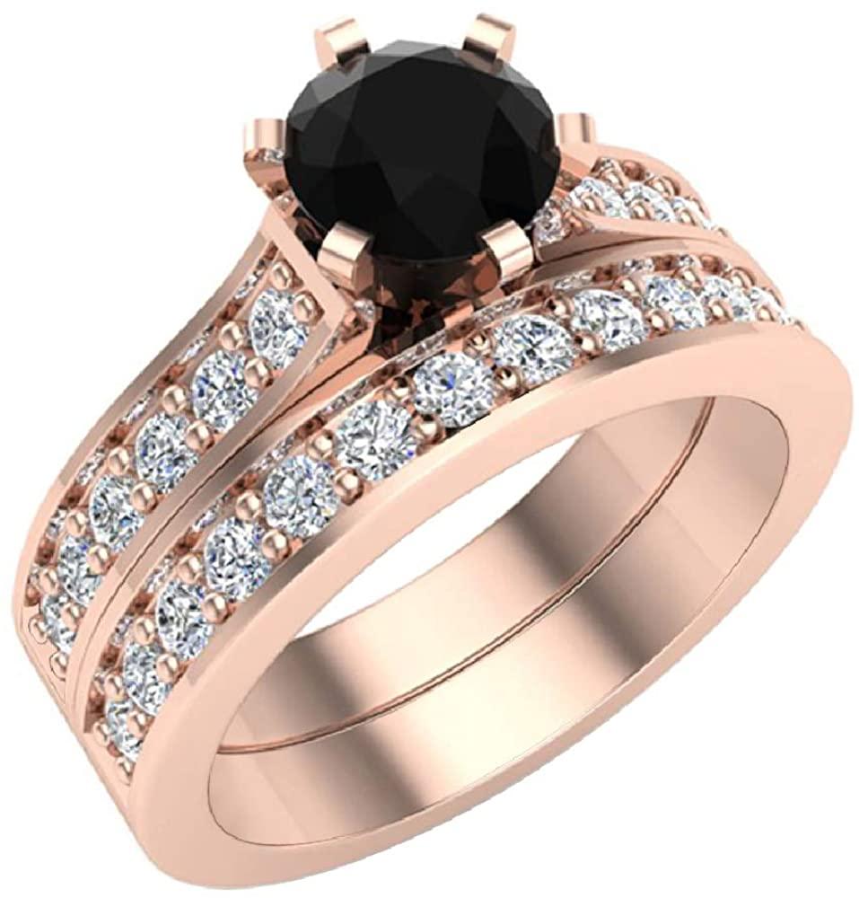 Black & White Diamond Accented Diamond Wedding Ring Set w/Band 1.10 Carat Total Weight 14K Gold
