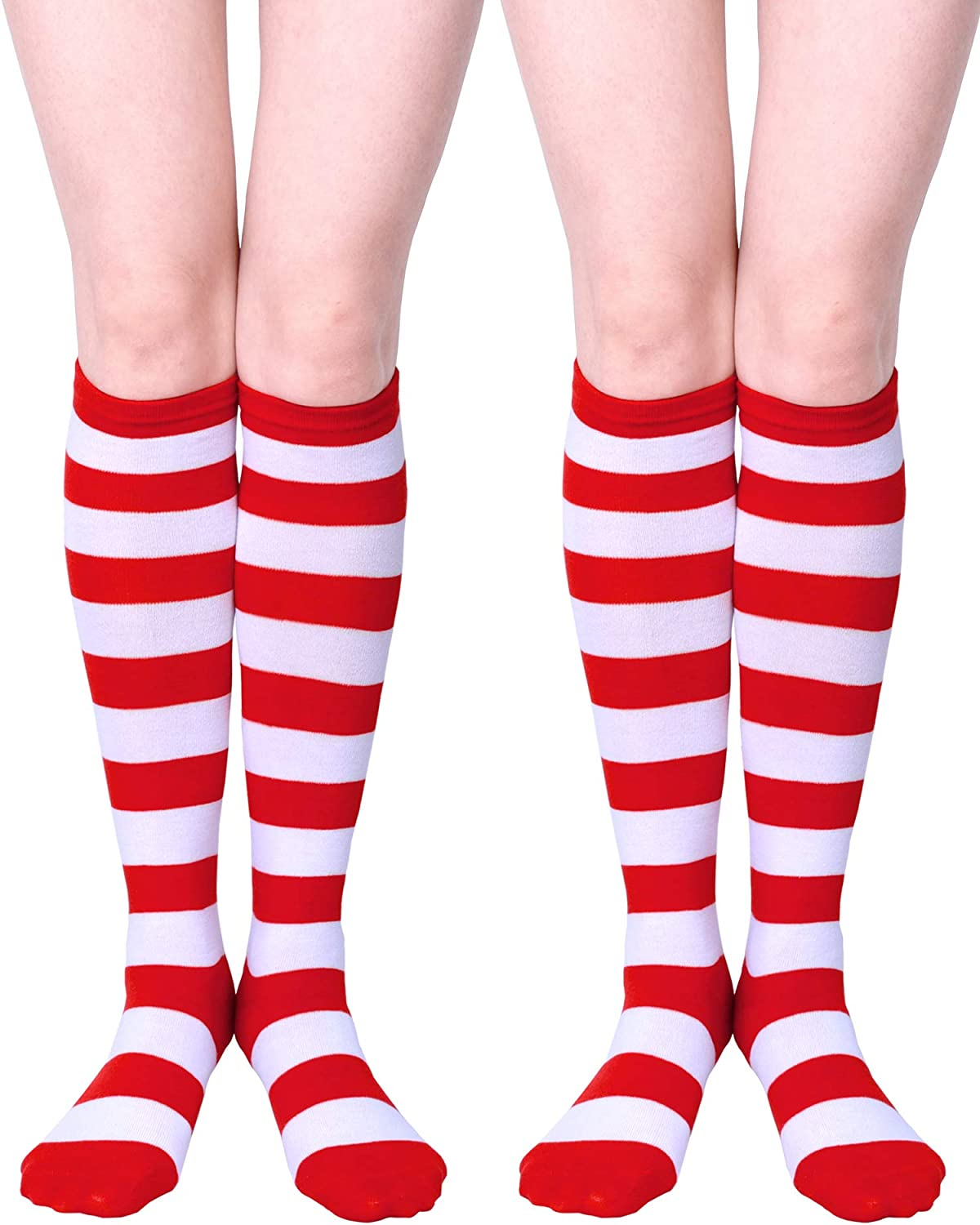 URATOT Halloween Striped Knee High Socks Halloween Cosplay Costume Red and White Stripe Stockings for Child and Adult