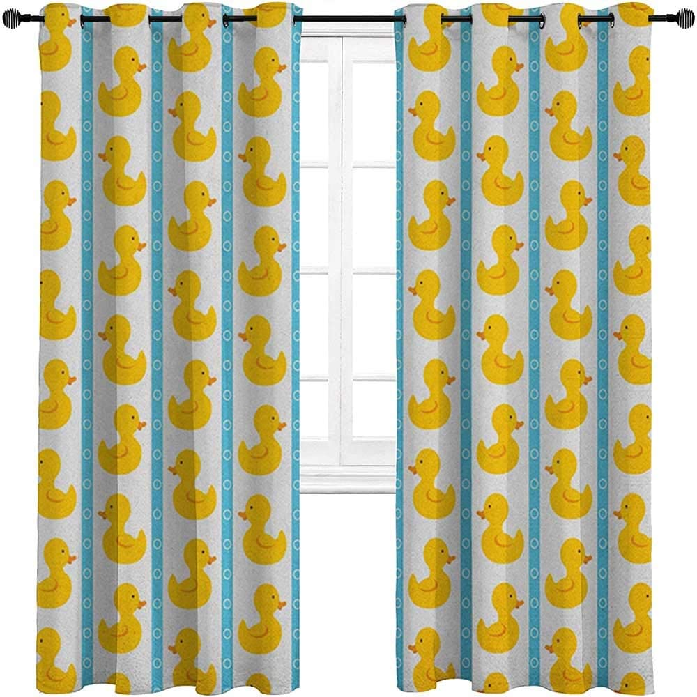 carmaxshome Cafe Curtains 96 inch Length, Rubber Duck Window Panel Set - Yellow Duckies with Blue Stripes and Small Circles Baby Nursery Play Toys Pattern Each 36