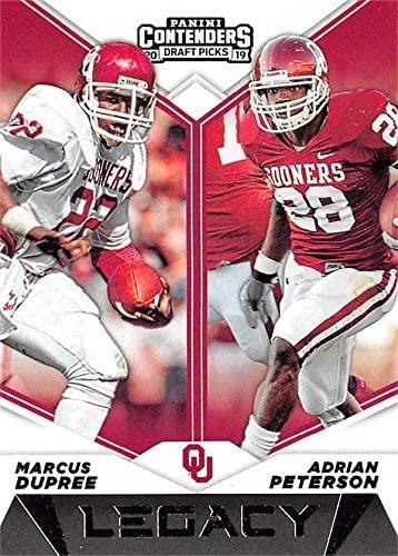 Adrian Peterson & Marcus Dupree football card (Oklahoma Sooners) 2019 Panini Contenders Draft Pick Legacy #14