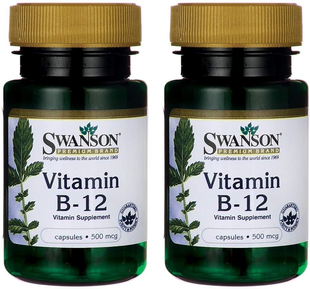 Swanson Vitamin B-12 (Cyanocobalamin) 500 mcg 100 Capsules (2 Pack)