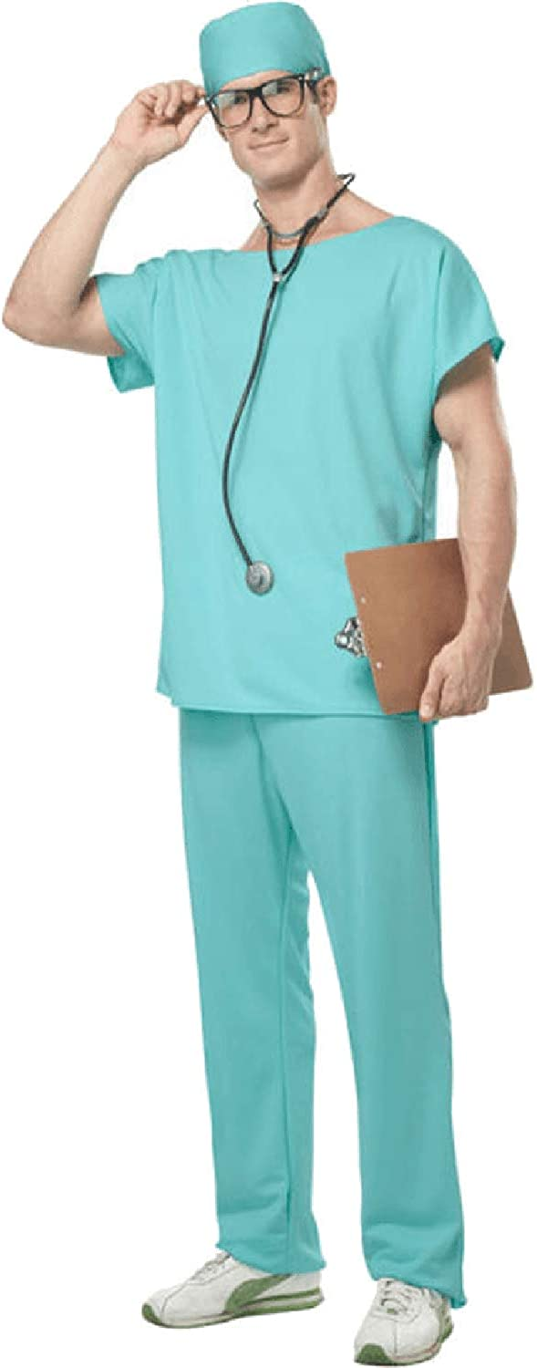 Mens Doctor Scrubs ER Hospital Surgeon Uniform Occupation TV Book Film Fancy Dress Costume Outfit S-XL