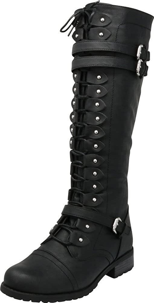 Cambridge Select Women's Lace-Up Strappy Knee High Combat Stacked Heel Boot