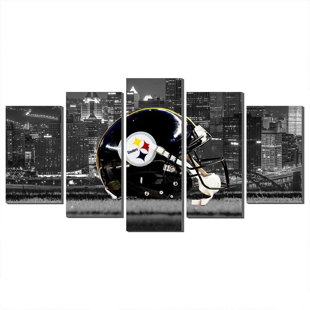 NFL Giclee Canvas Prints Wall Decor Pittsburgh Steelers Logo Painting, Home Decor Football Sport Pictures New Home Gifts (100x200cm,Frame)