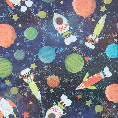 Galactic Fun Gift Wrap Flat Sheet - 24in x 6ft