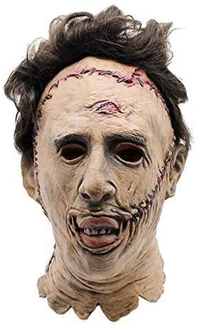 Dhm-wsjmianj Homicidal Maniac Head Chain Saw Face Head Mask ,Halloween Latex Horror Mask Full Head Deluxe with Hair for Funny Halloween Costume Accessories