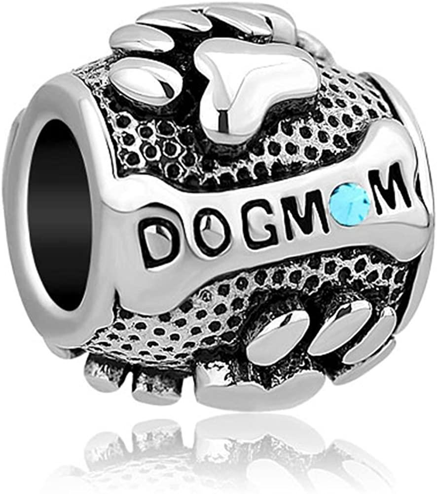 SexyMandala Dog Paw Print Mom Animal Charm Jan-Dec Birthstone Beads for European Bracelets