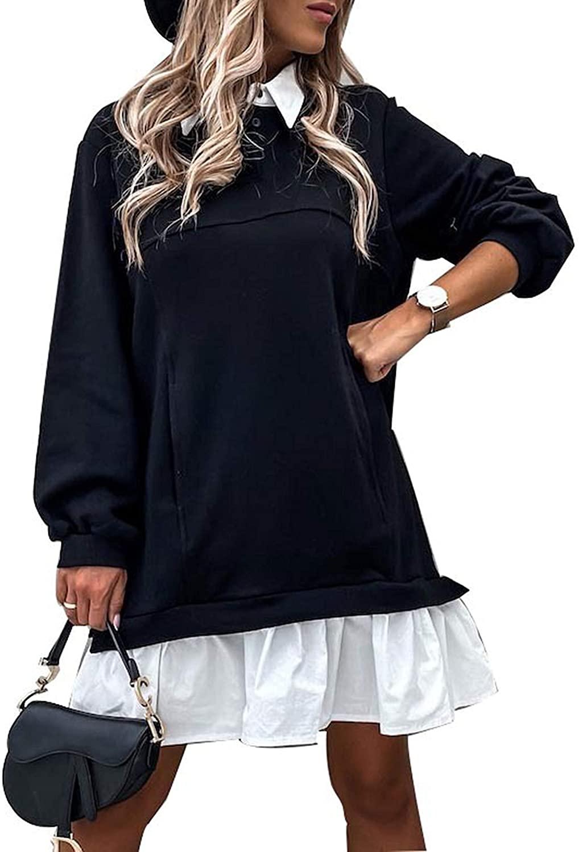 Qiaomai Womens Long Sleeve Patchwork Pleated Hem Midi Henley Shirt Dress Sweatshirt
