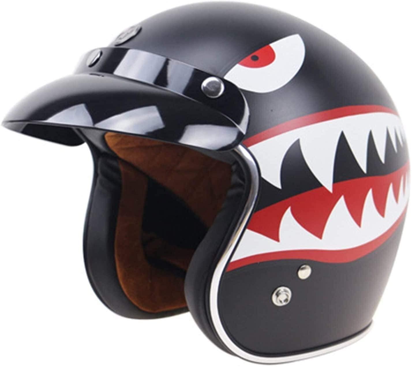 DFVV Helmet Motorcycle Helmet Adult Male Female Retro Summer Open face Half Helmet DOT Approved, Motorcycle Helmet (Size : Large)