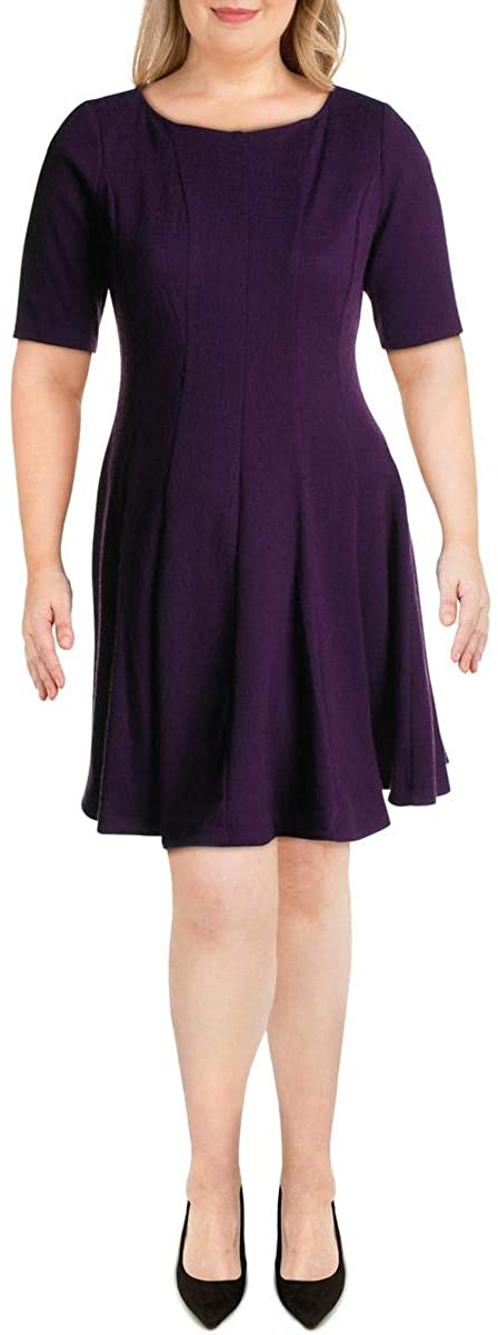 Gabby Skye Womens Knit Seamed Wear to Work Dress Purple 12