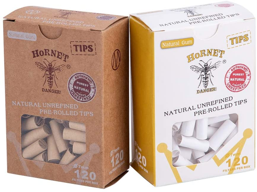 Filter Tips Pre Rolled Tip Smoking Paper Cigarette Filters Rolling Tips for Rolling Papers 7 mm, 2 Pack = 240 Tips with Metal Box (Brown&White, 7mm)
