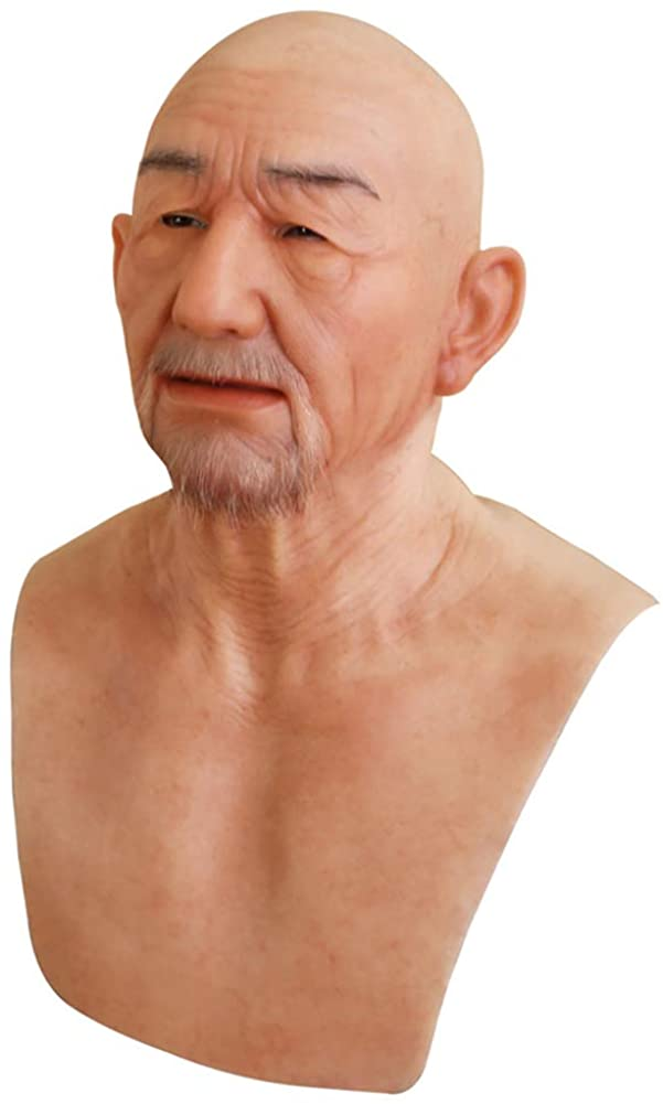 Yuewen William Silicone Head Mask Realistic Old Man Face Mask Cosplay Halloween