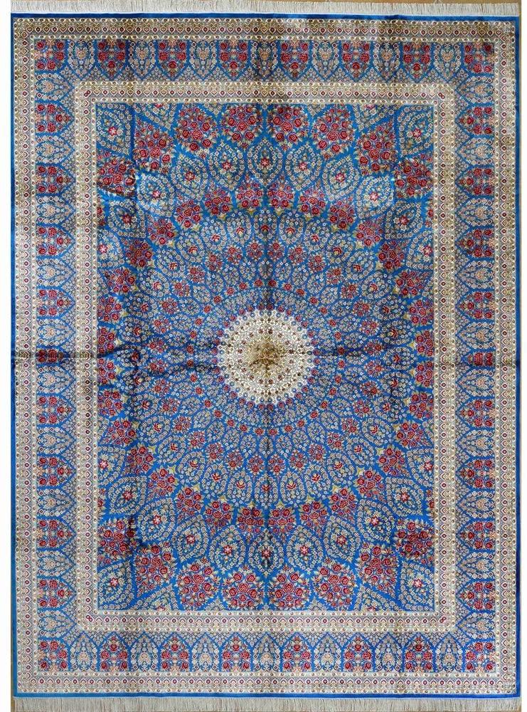 Yilong Carpet 9'x12' Handmade Isfahan Persian Traditional Silk Rug Oriental Carpet Living Room L27A9x12