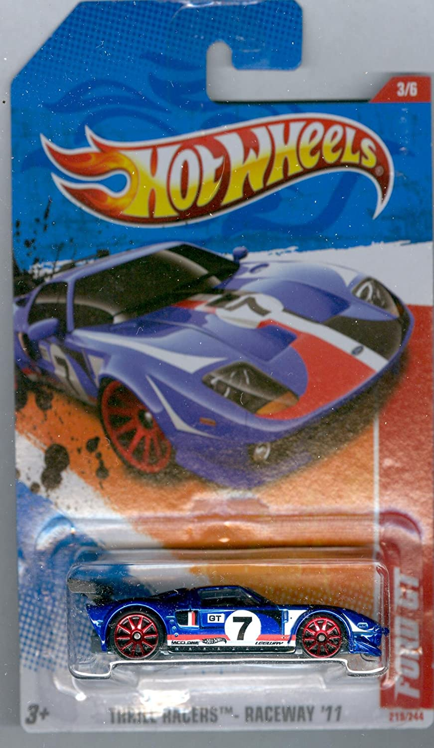 Hot Wheels 2011-219 Thrill Racers Ford GT Dark Blue 1:64 Scale