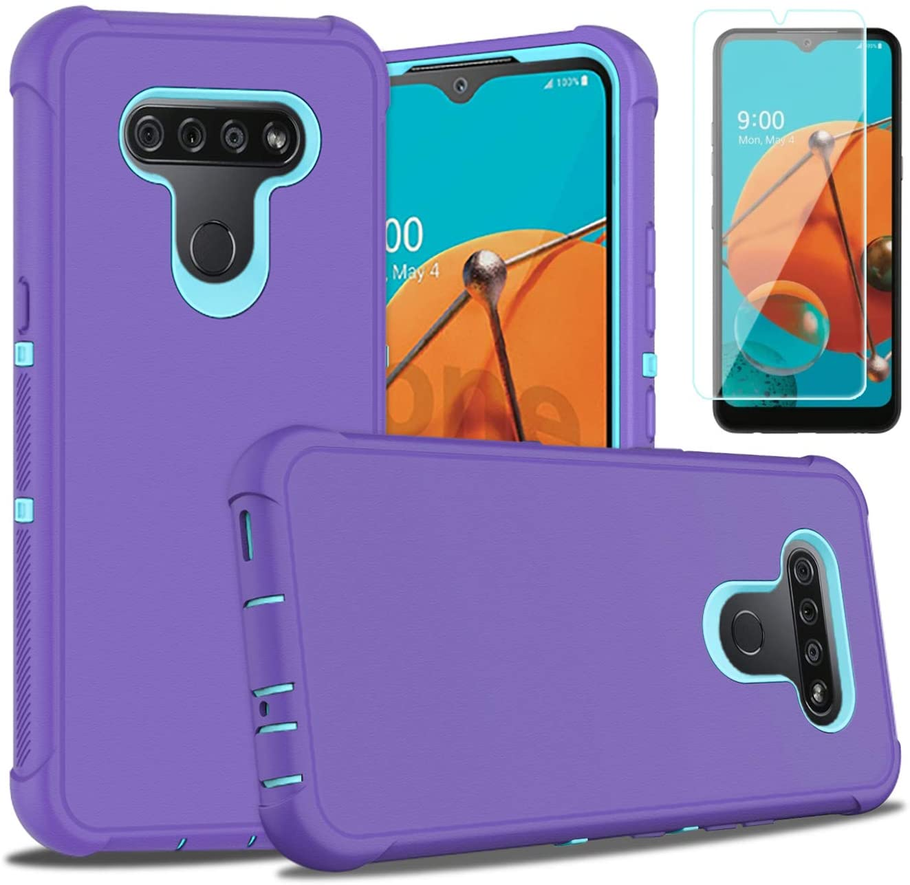 PhuLok LG K51 Case,LG K51 Phone Case,with HD Screen Protector,Heavy Duty Armor Dual Layer Shockproof Sports Anti-Scratches Non-Slip Bumper Rugged Case for LG K51 (Purple/Sky Blue)