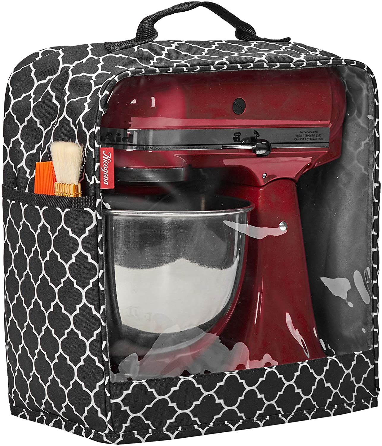 NICOGENA Visible Stand Mixer Dust Cover with Pockets Compatible with KitchenAid Tilt Head 4.5-5 Quart, Lantern Black