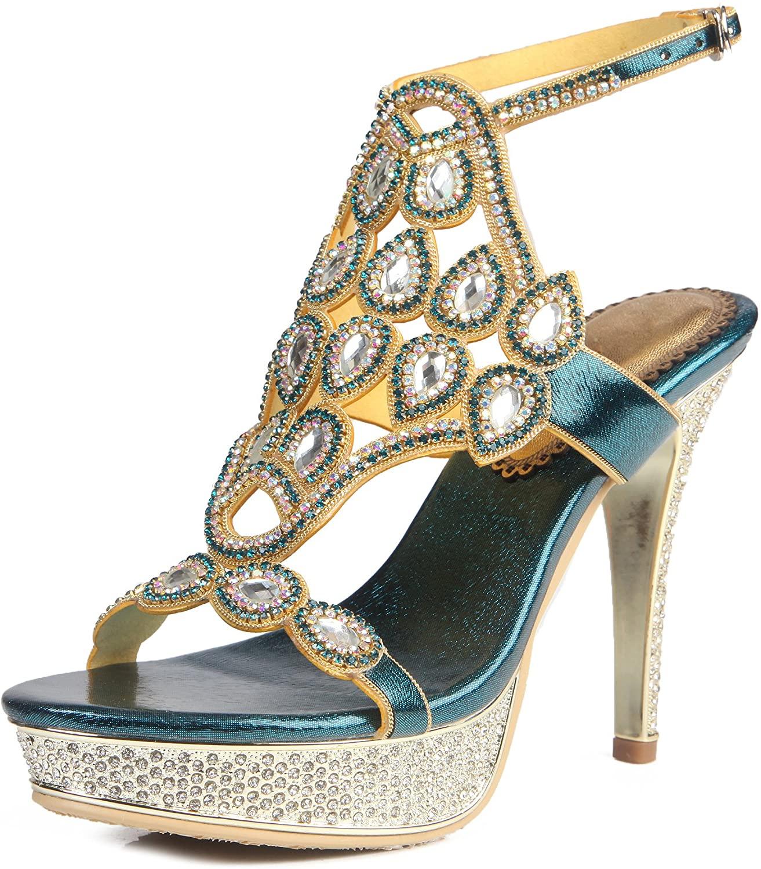 Joygown Womens Open Toe Wedding Rhinestone Platform High Stiletto Bride Dress Pump Heel Sandals GS-L044