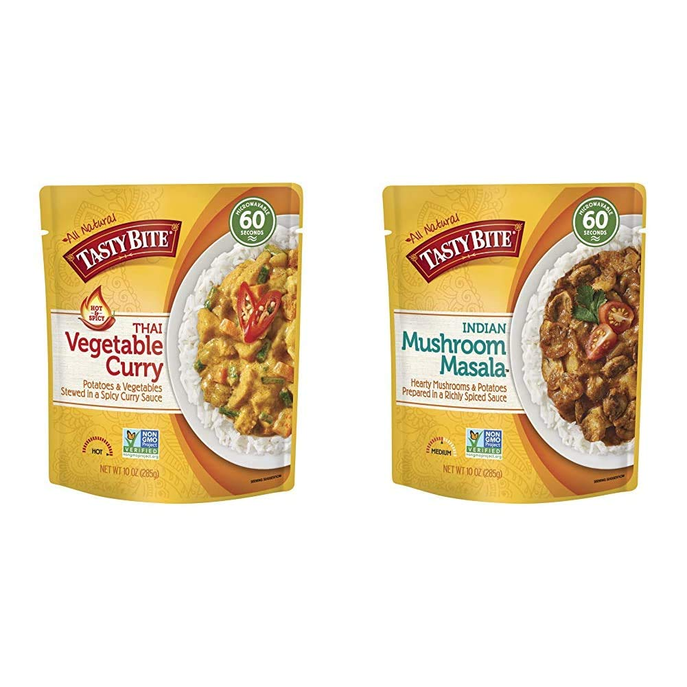 Tasty Bite Thai Entree Hot & Spicy Vegetable Curry, 10 Ounce (Pack of 6) & Indian Entree Mushroom Masala 10 Ounce (Pack of 6) & Potatoes in a Richly Spiced Sauce, Vegan, Gluten Free, Microwaveable
