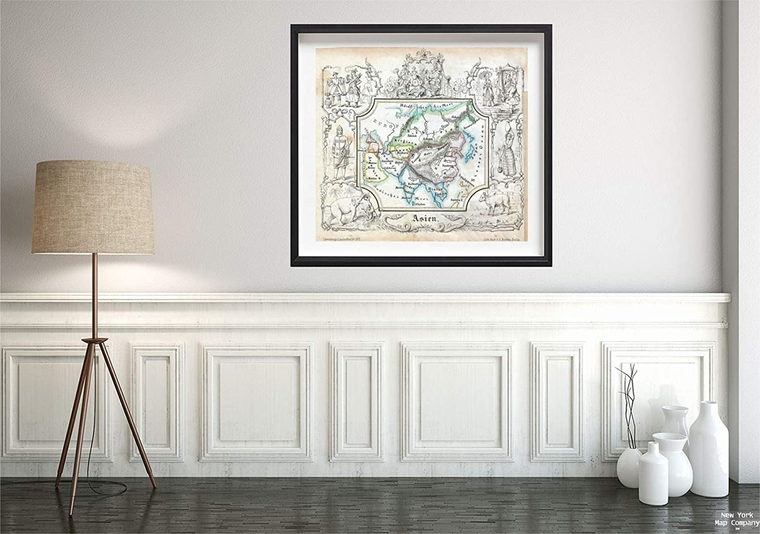 1846 Lowenberg Whimsical Antique of Asia Map|Vintage Fine Art Reproduction|Size: 22x24|Ready to Frame