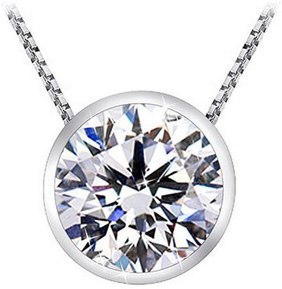 Solitaire Diamond Pendants 3/4 Carat Bezel Necklace 14K White Gold (D-E, VS2, 0.72 ctw)