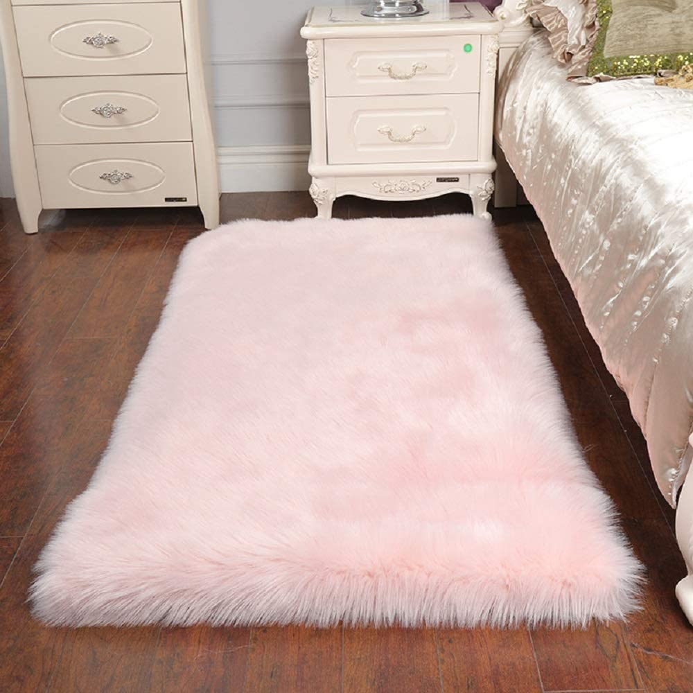 HEBE Fluffy Sheepskin Rugs Faux Fur Area Rug 2'x4' Pink Fur Rugs for Bedroom Fuzzy Carpet for Living Room Princess Nursery Rug