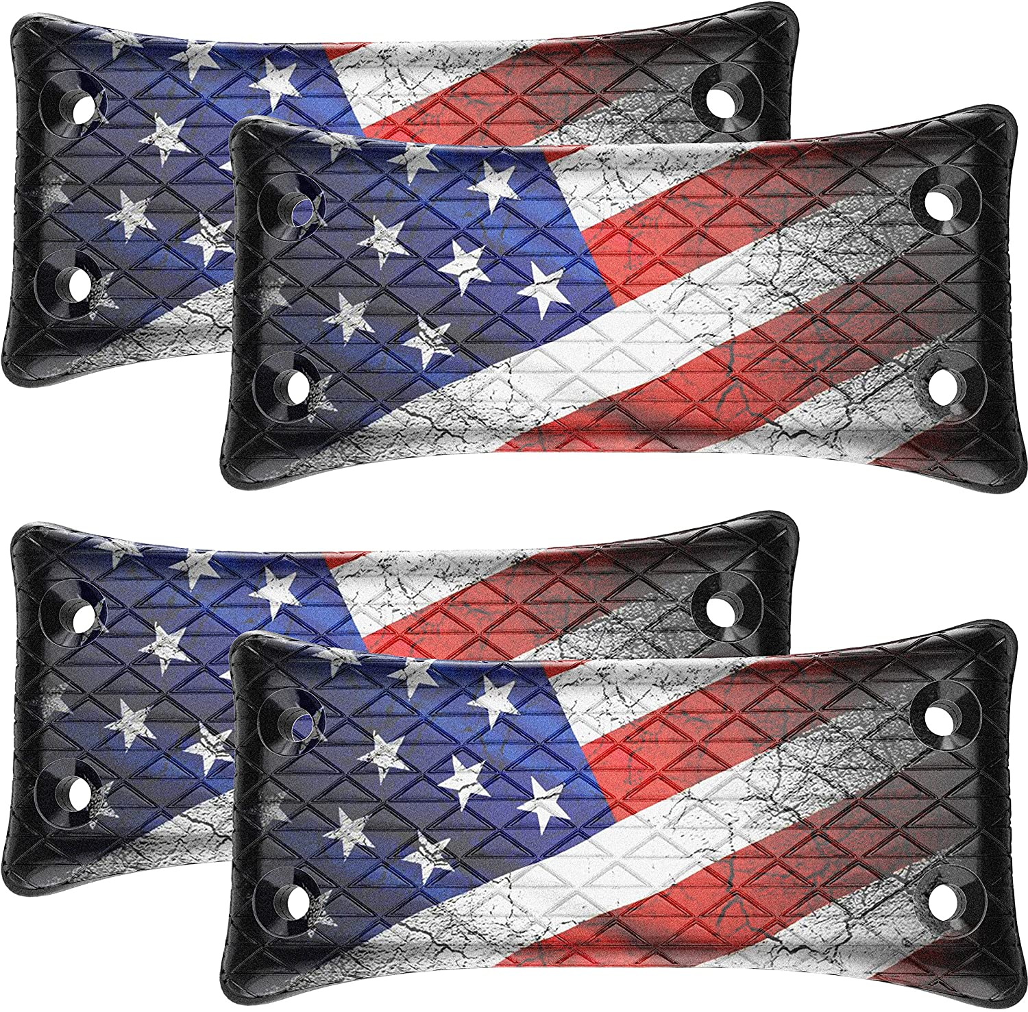 4-Pack Gun Magnet Mount , U.S. flag Holder, 50lbs Rated w/ HQ Rubber Coated, Fits Handguns,Airguns,Rifle and Pistol, Concealed car Gun Holster for Vehicle and Indoor, Car,Wall,Bedside and Office
