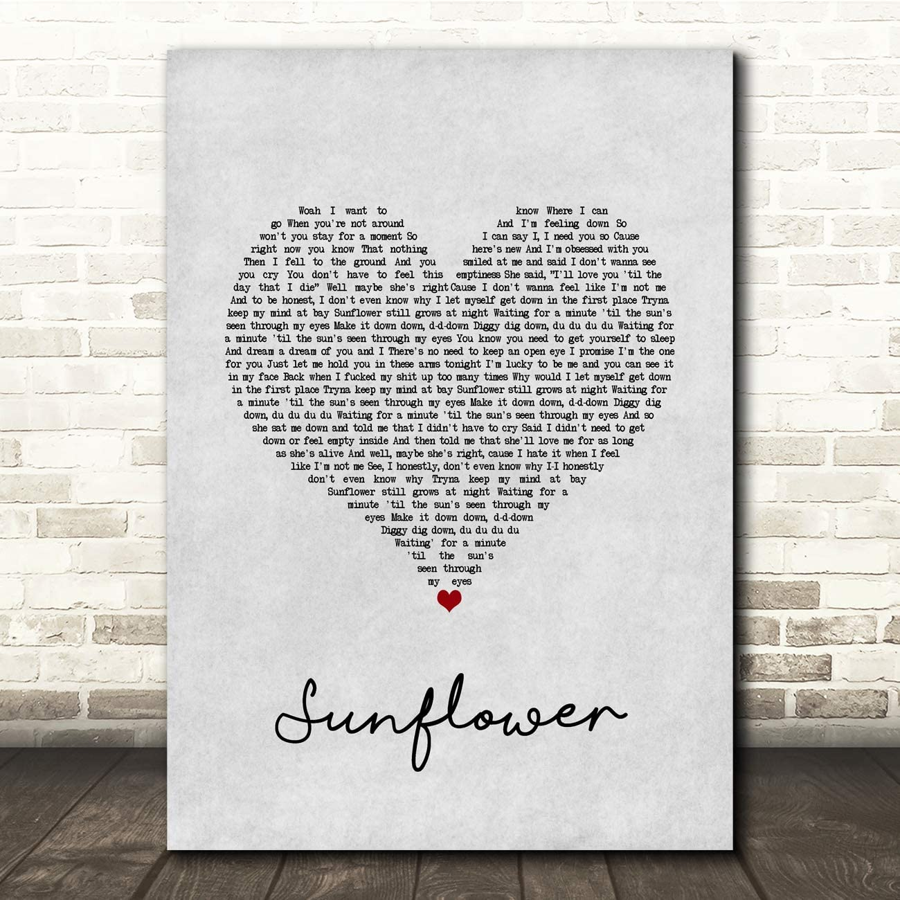 Sunflower Grey Heart Song Lyric Quote Music Print