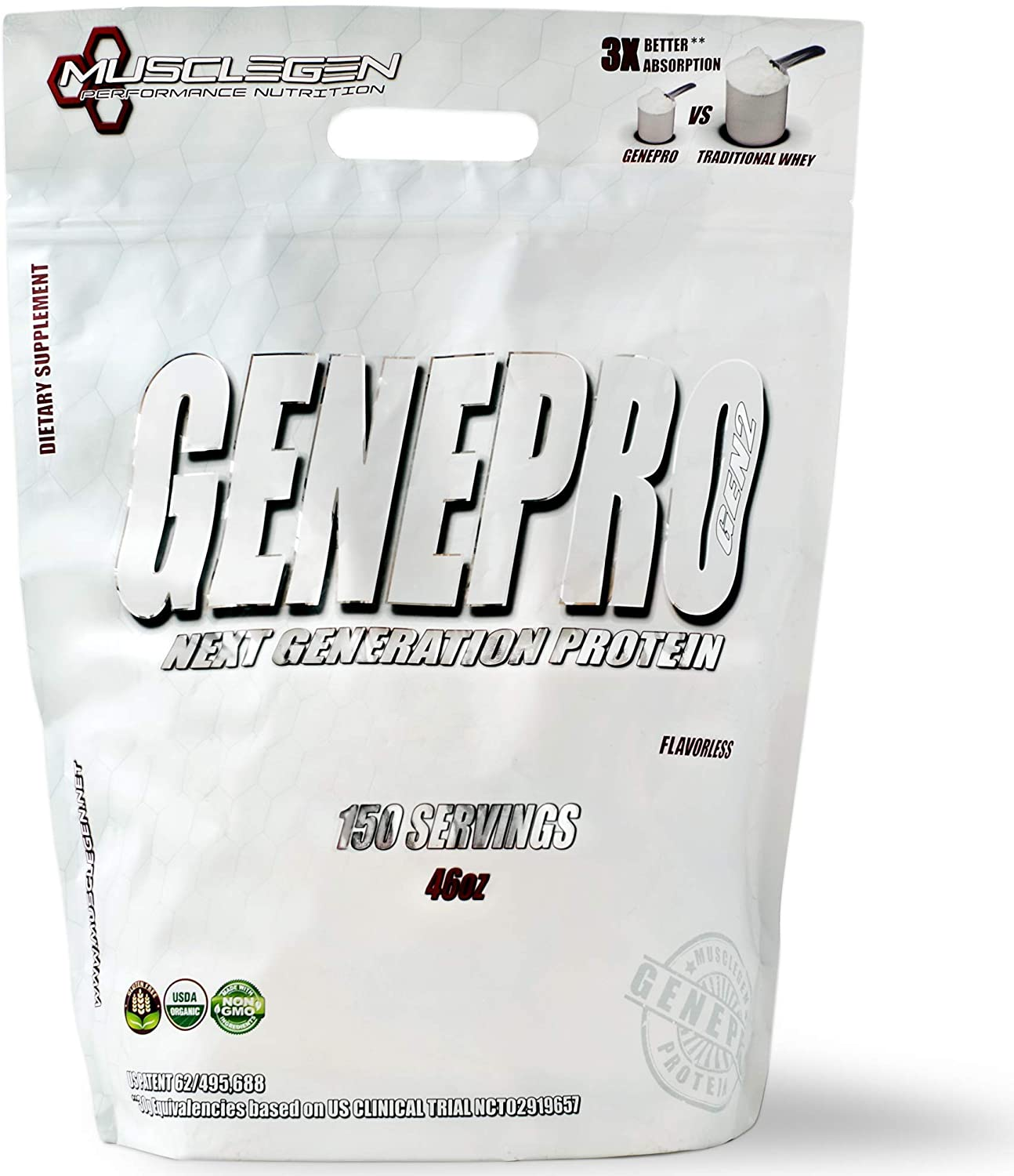 GENEPRO Protein: 150 Servings, Premium Protein for Absorption, Muscle Growth and Mix-Ability