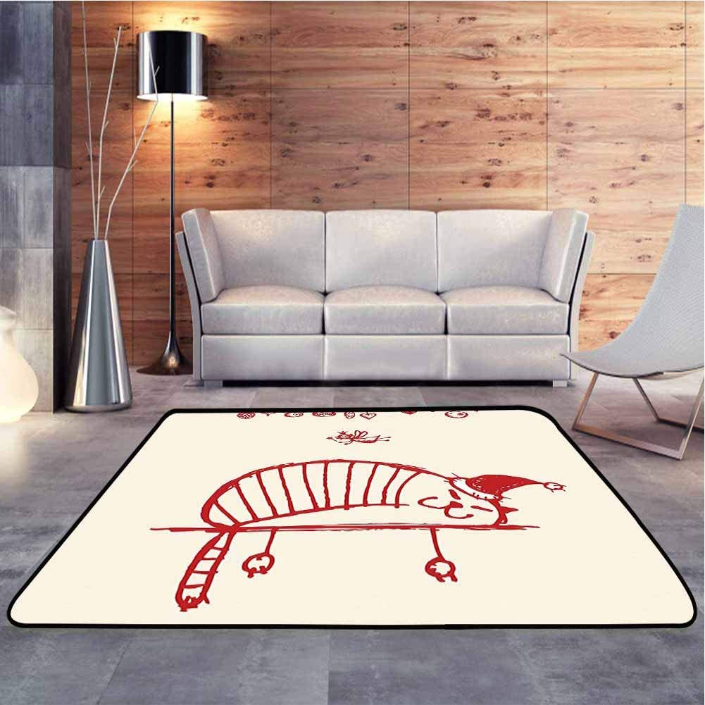 Camping Mat Fun Cat Sleeping with Santa Hat and Little Fairy Hanging Xmas Ornaments Sketch Kids Playing Mat with No-Slip pad, 5 x 8 Feet