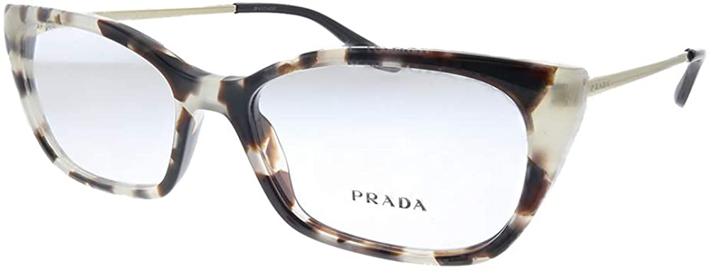 Prada PR 14XV UAO1O1 Spotted Brown Plastic Cat-Eye Eyeglasses 52mm